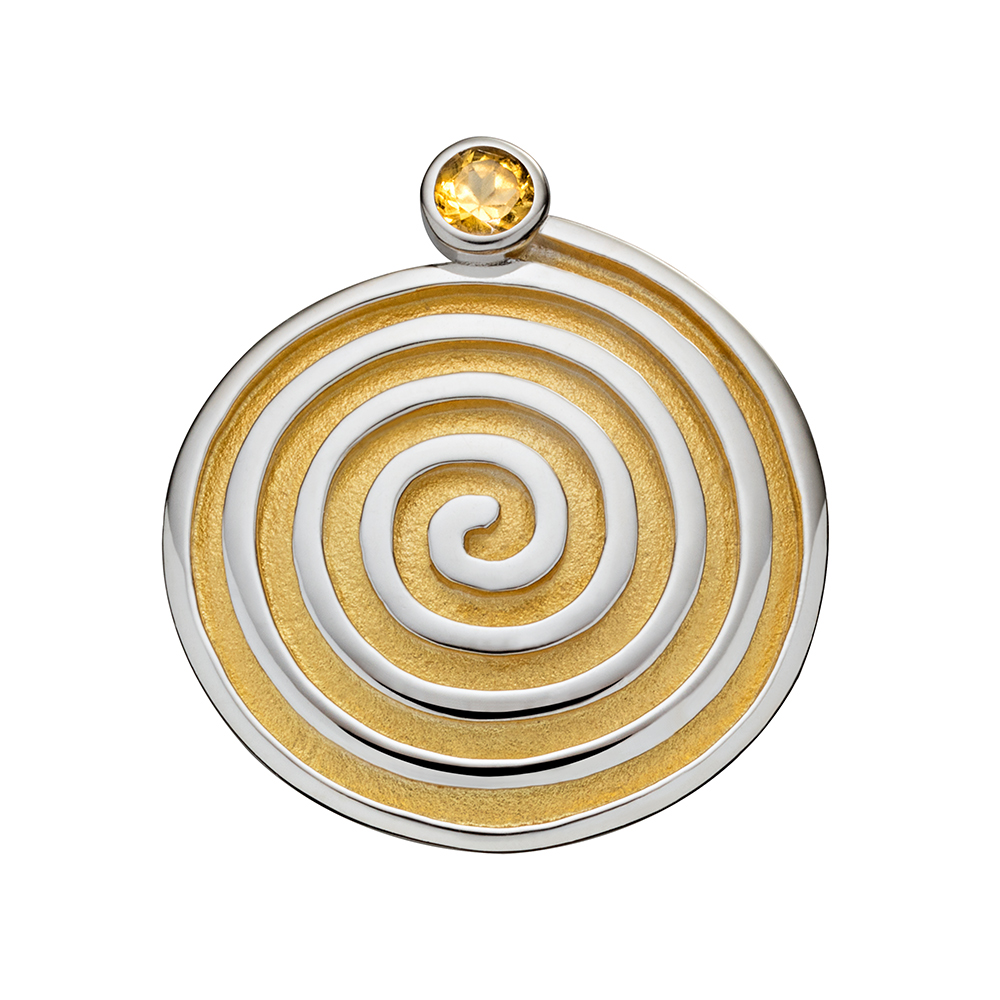 Spiral, Partially Gilded - Citrine